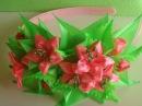 Розовая Лилия ободок для волос Канзаши