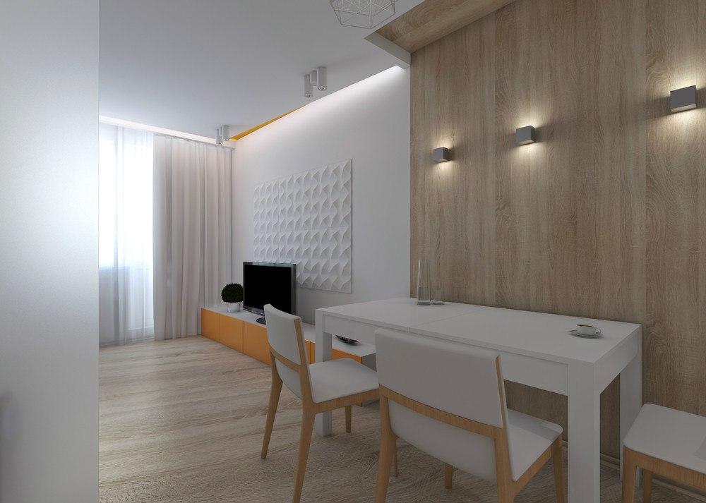 Минималистичный дизайн-проект квартиры-студии 27 м.