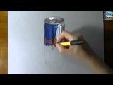 Ред Булл 3д рисунок на листе бумаги | Red bull 3D drawing on paper