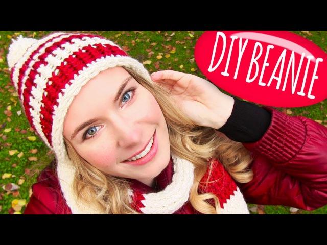 Knit a Hat! DIY Beanie Hat with Pom Pom DIY Knitting Loom! Easy for Knitting or Crochet Beginners