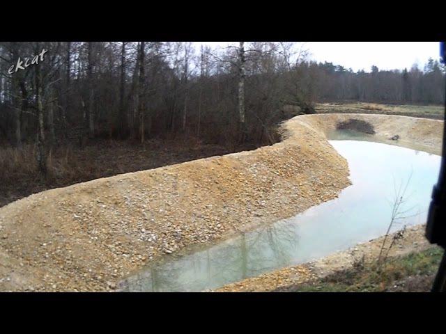 Копаем пруд, применяем известняк. CAT 320EL. Digging a pond.