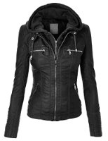 Women Leather Jacket With Hoodie