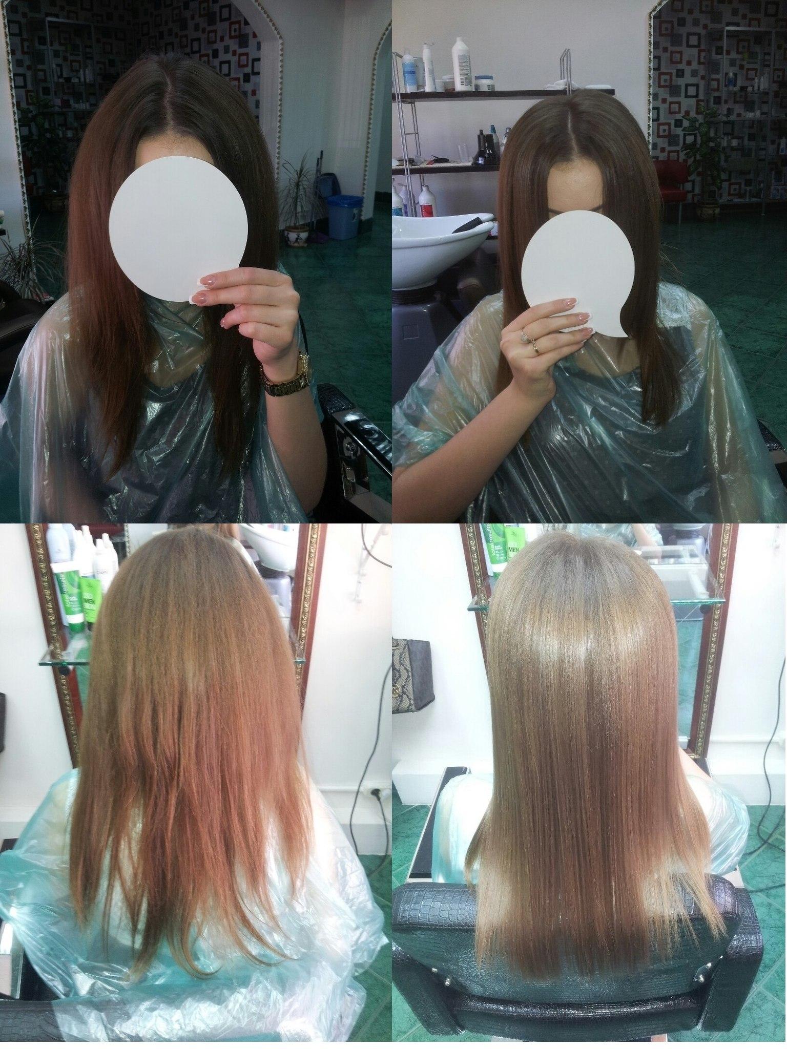 повторный буст ап + кератиновое выпрямление волос