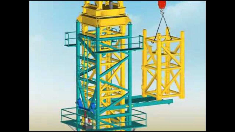 Анимация монтажа башенного крана KCT 7016 C