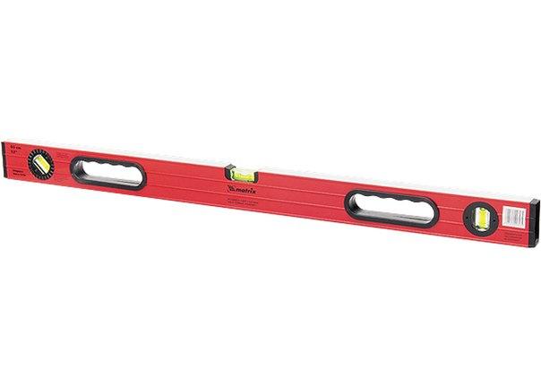 Уровень алюминиевый, фрезерованный, 3 глазка (1 поворотный), две ручки, усиленный   MATRIX