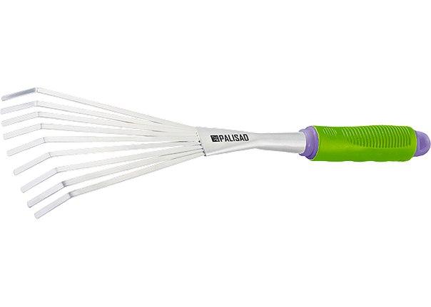 Грабли веерные 9-зубые, обрез. рукоятка, может использ. в сборе с ручкой 63016, 63017   PALISAD