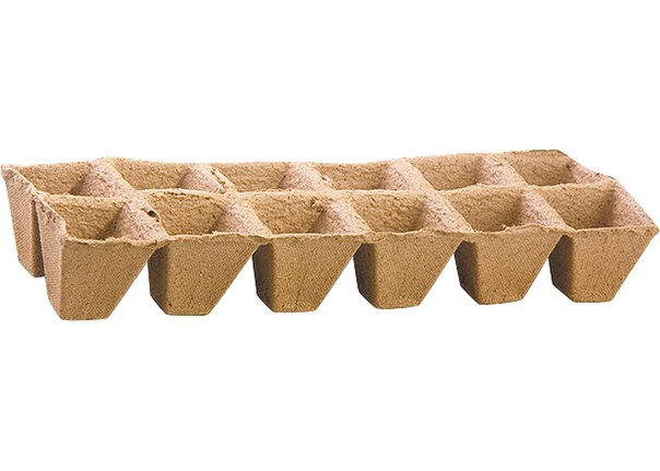 Торфяные горшочки 50*50 мм, квадратные (блок по 12 ячеек)   РОССИЯ