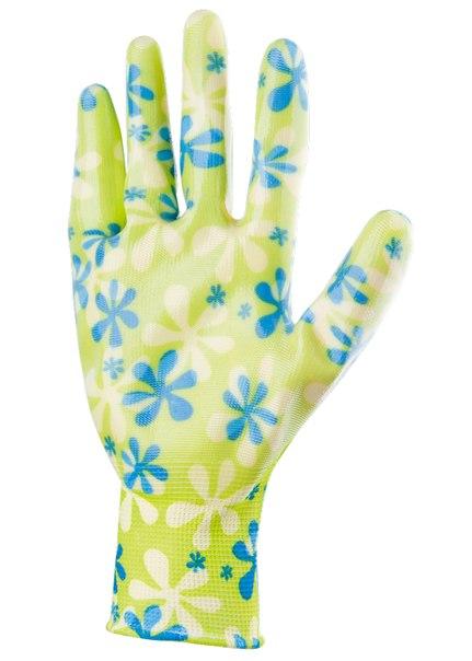 Перчатки садовые из полиэстера с нитриловым обливом, зеленые, S    PALISAD