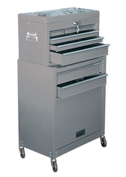 Шкаф для инструмента 2-секционный, 600х260х340 мм, 616х330х658 мм, на колесах, 14 ящиков   MATRIX