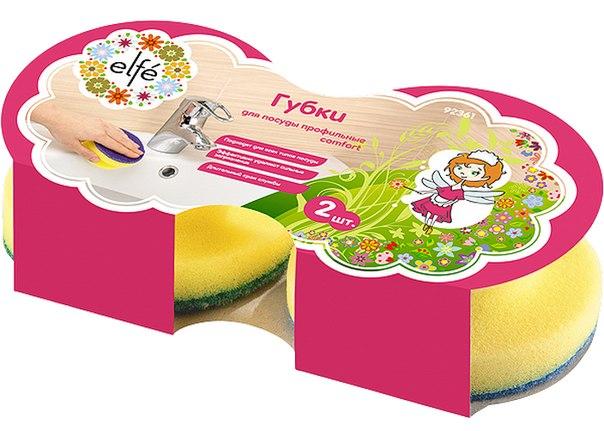 Губки для посуды c тефлоновым покрытием, круглые, d 95*50 мм, 2 шт. в картоне   Elfe