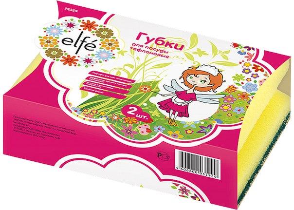 Губки для посуды профильные, 95*70*45 мм, 2 шт. в картоне   Elfe