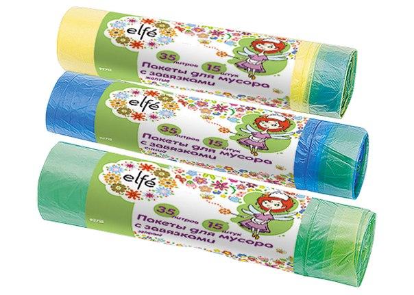 Пакеты для мусора с завязками   Elfe