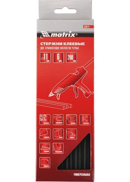 Стержни клеевые, чёрный, 11*200мм, 6 шт./упак.    MATRIX
