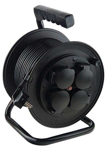Удлинитель силовой на кабельной катушке, 4 розетки с крышкой, IP44, STERN   STERN