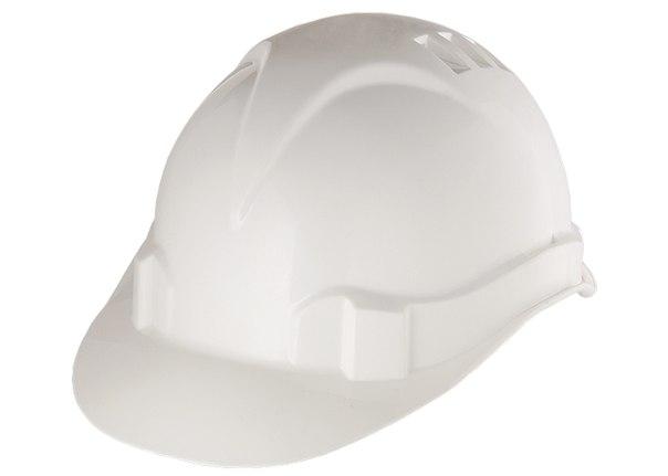 Каска защитная из ударопрочной пластмассы, белая   СИБРТЕХ