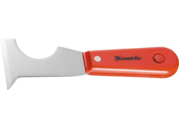 Шпатель-скребок стальной, пластмассовая ручка   MATRIX