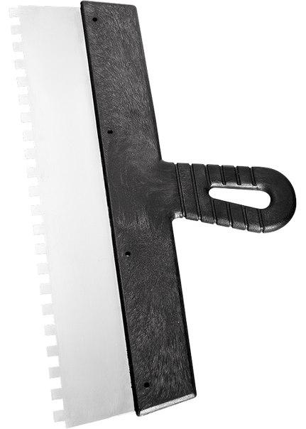Шпатель из нержавеющей стали, зуб 4х4 мм, пластмассовая ручка   СИБРТЕХ