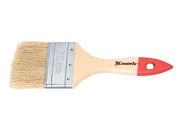 """Кисть плоская """"Стандарт"""", натуральная щетина, деревянная ручка   MATRIX"""