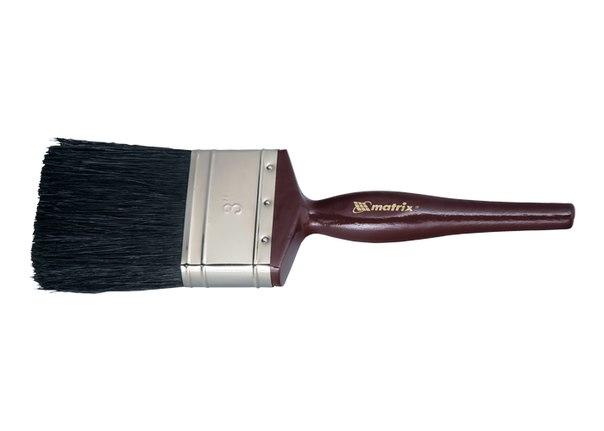 """Кисть плоская """"Декор"""", натуральная черная щетина, деревянная ручка   MATRIX"""