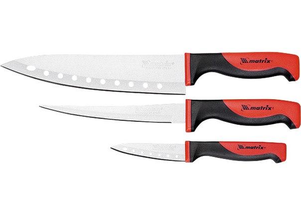 """Набор ножей поварских """"SILVER TEFLON"""", тефл. покр., 200 мм , 160 мм, 80 мм, 3 шт.   MATRIX"""