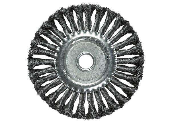 Щетка для УШМ, посадка 22,2 мм, плоская, крученая металлическая проволока   MATRIX