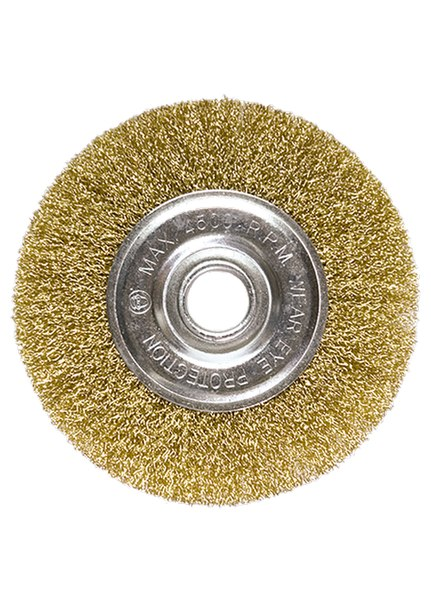 Щетка для УШМ, посадка 22,2 мм, плоская, латунированная витая проволока   MATRIX