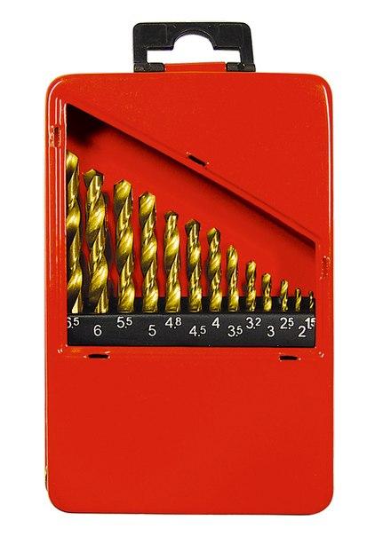 Набор нитридтитан. сверл по металлу, 1,5-6,5мм (через 0,5мм+3,2мм; 4,8мм), НSS,13 шт.   MATRIX