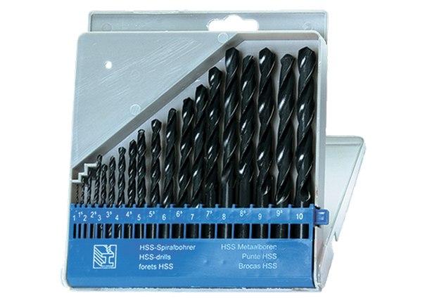 Набор сверл по металлу, 1-10 мм (через 0,5 мм), HSS, 19 шт, пласт. бокс, цилин. хвостовик   SPARTA