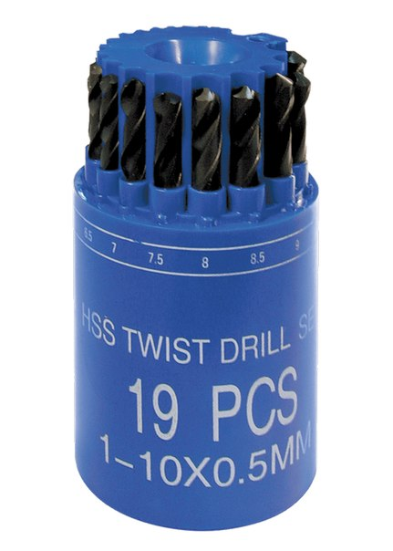 Набор сверл по металлу, 1-10 мм (через 0,5 мм), HSS, 19 шт., в стакане, цилинд. хвостовик   SPARTA