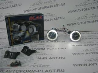 Противотуманные фары c линзой и ангельскими глазками DLAA (PL1696).White.