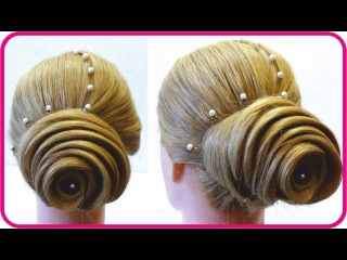 Праздничная прическа на средние волосы. Прическа на вечер. Festive haircut