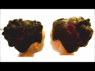 Плетение волос на новый год. Вечерняя прическа с плетением. Braiding hair for New Year