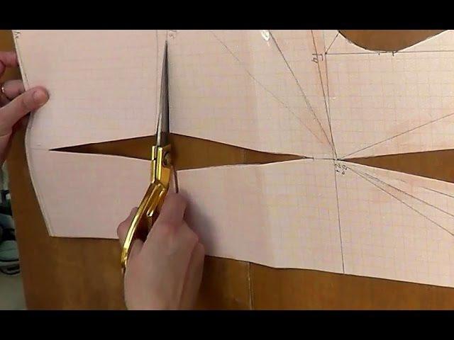 Моделирование лифа. Перенесение нагрудной вытачки на линию талии.