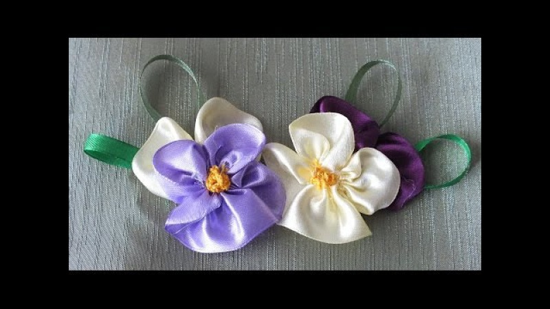 цветок Анютины глазки из лент за 5 мин Quick Easy Satin Ribbon Flower - Tutorial