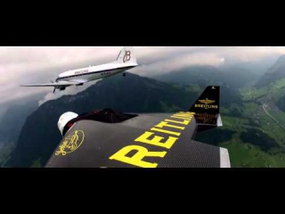 Eye To Eye - Jetman flies in formation with the Breitling DC-3 and its passengers!