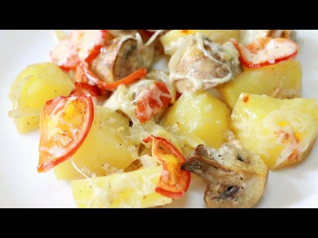 Запеченная картошка с грибами Семейная кухня