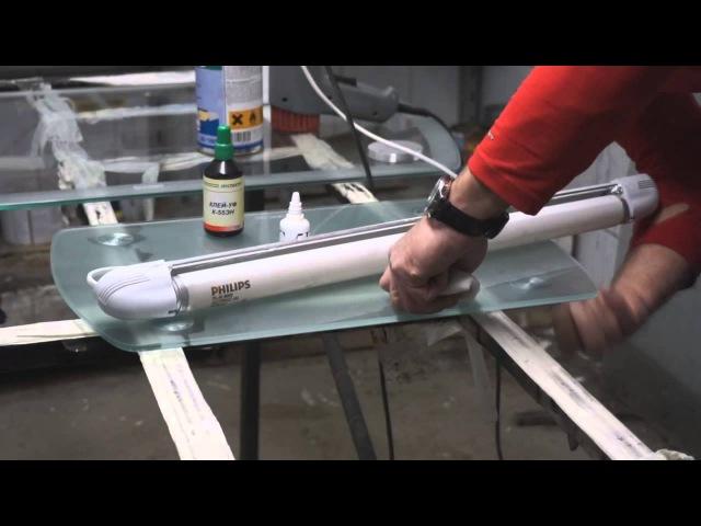 Приклейка опоры (пятака) к столешнице Испытание на перепад температур. УФ клей Спектр