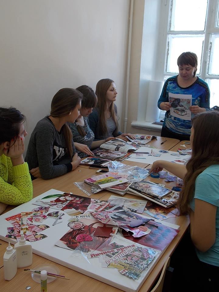 Ульяновское училище культуры. Мастер-класс «Техника коллаж»