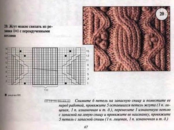 Оригинальный узор из кос для вязания теплой жилетки спицами 27