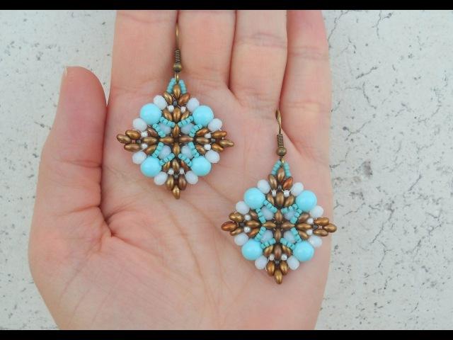 DIY Turorial Orecchini Semplice Sai... twin beads cipollotti perline Swarovski Beading