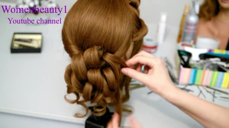 Romantic prom wedding hairstyle for long hair. Updo hairstyles