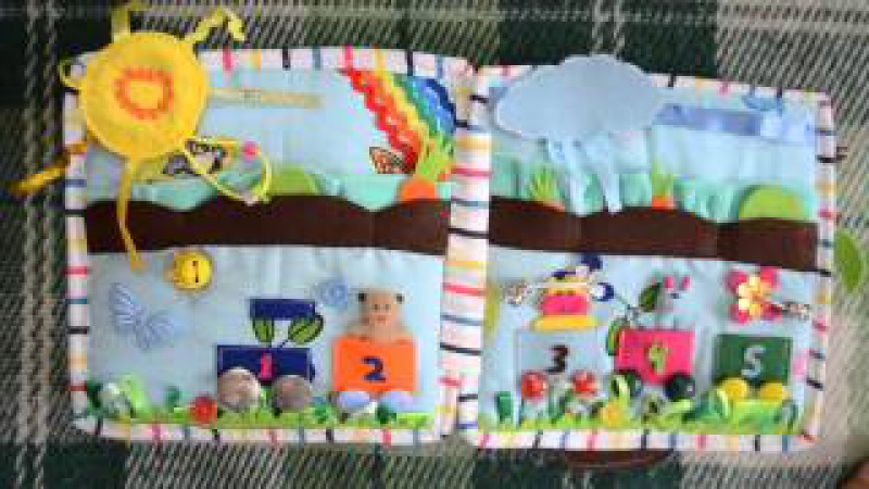 Мягкая развивающая книжка из фетра и ткани для детей Розвиваюча книжка № 1