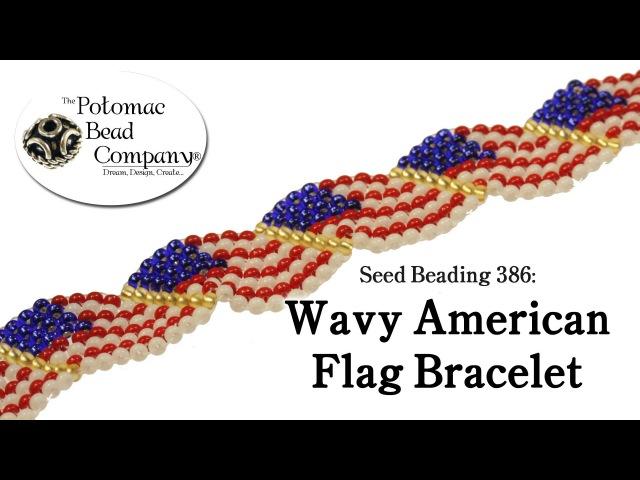 Seed Beading 386 Wavy American Flag Bracelet
