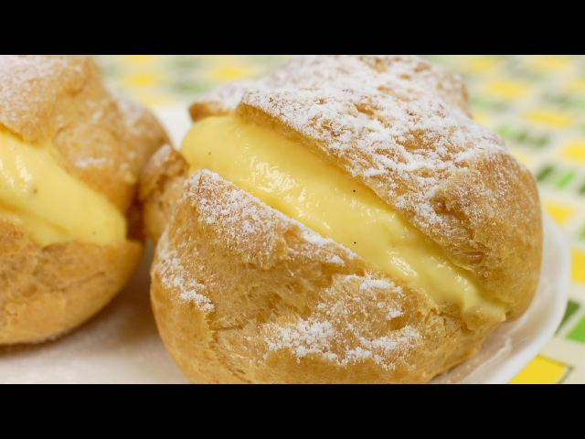 Cream Puffs with Custard Filling Recipe Crispy Choux Créme with Pastry Cream Cooking with Dog