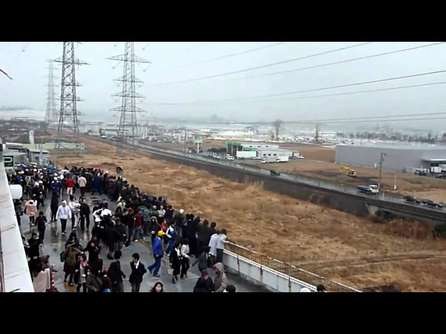 New video of Tsunami invading the Port of Sendai 1 [stabilized] - Japan earthquake 2011