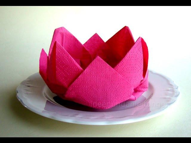 Servietten falten - Rose / Blüte / Blume - einfache Deko basteln Hochzeit - DIY Muttertag - Origami