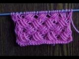 Вязание спицами узоров с вытянутыми петлями Плетенка с вытянутыми петлями