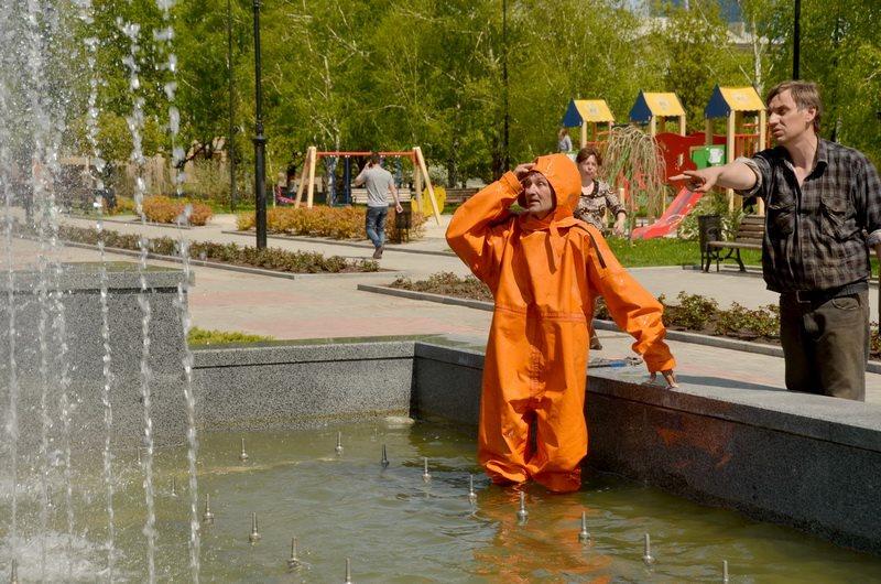 Регулировка фонтана на бульваре Пушкина