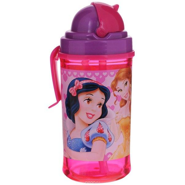 """Поильник  """"принцессы"""", с подвижной трубочкой, цвет: розовый, фиолетовый, 350 мл, Stor"""