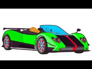 Мультики про машинки: Машинка Би Бип учит цвета: Гоночный автомобиль: Раскраска